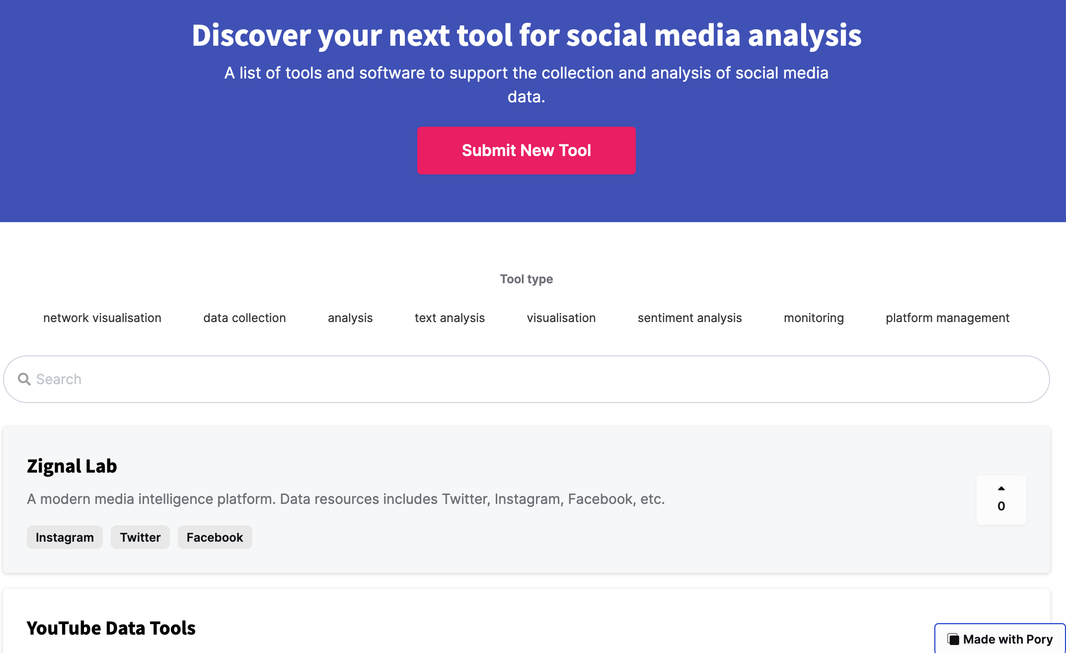 Fig. 4: Screenshot of the sub-list of social media tools rendered into a catalogue via the pory.io app. The user experience on this interface is friendlier than working with a table as in Fig. 2 & 3. A student can filter the list by the type of tool, which is immediately visible; for example they might be looking for tools to support their data collection. They can then use the search box to enter key terms and narrow down the list further, a process that is more familiar. The student can also browse the list of tools by opening the individual cards to find more information (see next figure).