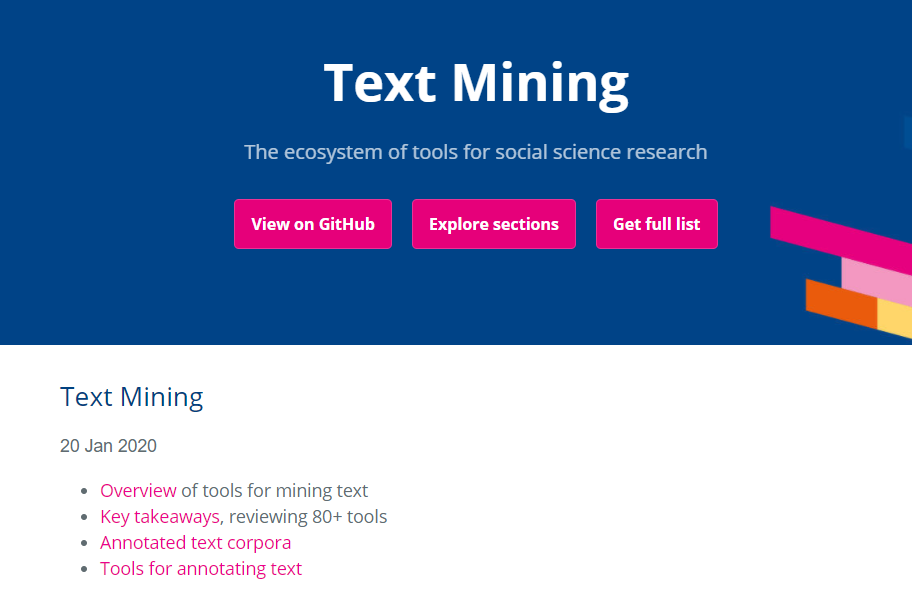 Fig. 6: Screenshot of the Text Mining section, an overview of tools available.