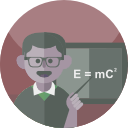 Scientist pointing at the E=MC squared on the board. Illustration.